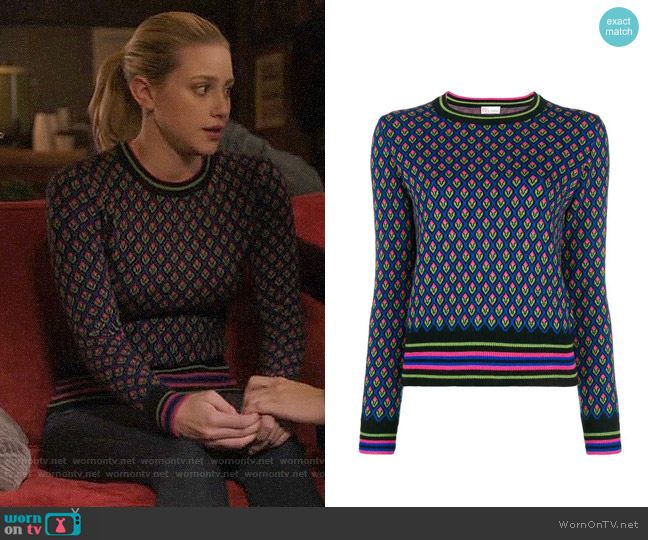 RED Valentino Floral Intarsia Sweater worn by Betty Cooper (Lili Reinhart) on Riverdale
