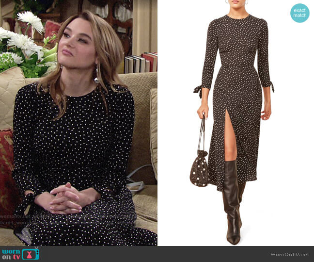 Reformation Zelda Slit Dress worn by Summer Newman (Hunter King) on The Young & the Restless