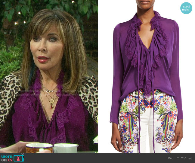 Roberto Cavalli Ruffled Self-Tie Silk Blouse worn by Kate Roberts (Lauren Koslow) on Days of our Lives