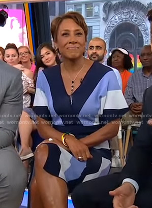 Robin's blue striped wrap dress on Good Morning America