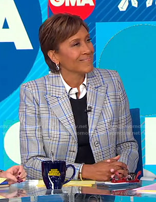 Robin's grey and blue plaid blazer on Good Morning America