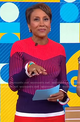 Robin's red stirped colorblock sweater on Good Morning America