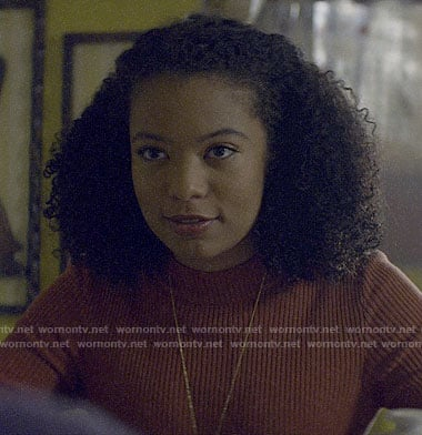Ros's brown ribbed mock neck top on Chilling Adventures of Sabrina