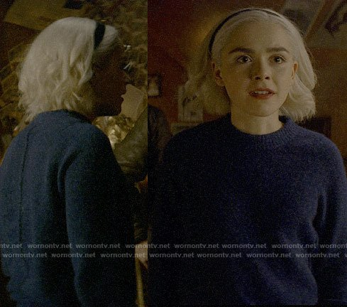 Sabrina's blue textured sweater on Chilling Adventures of Sabrina