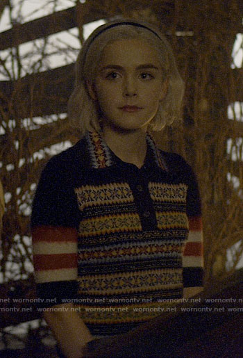 Sabrina's fair isle polo sweater on Chilling Adventures of Sabrina