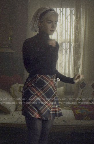 Sabrina's plaid wrap skirt on Chilling Adventures of Sabrina