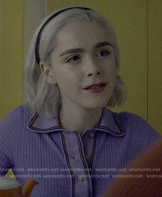Sabrina's purple long sleeved polo top on Chilling Adventures of Sabrina