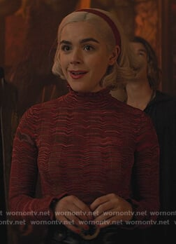Sabrina's red marled mock neck sweater on Chilling Adventures of Sabrina