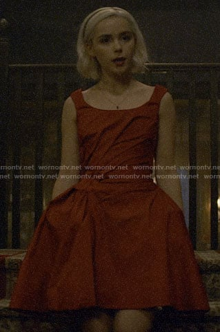 Sabrina's red dance dress on Chilling Adventures of Sabrina