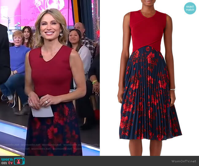 Crossover Pleated Dress by Sachin & Babi worn by Amy Robach  on Good Morning America