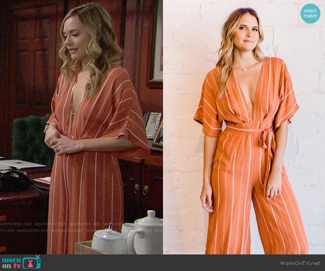 Sage the Label Sunday Somewhere Jumpsuit worn by Hope Logan (Annika Noelle) on The Bold & the Beautiful