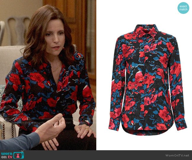 Saint Laurent Floral Shirt worn by Selina Meyer (Julia Louis-Dreyfus) on Veep