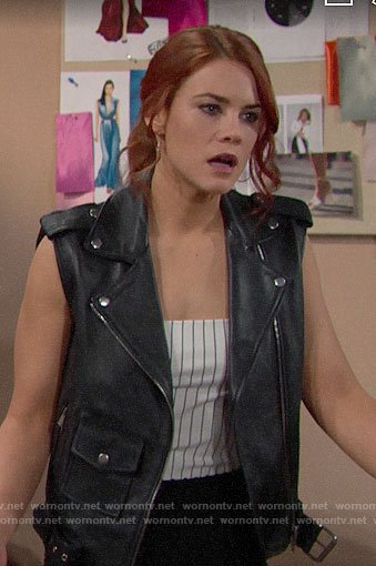Sally's leather moto vest on The Bold and the Beautiful