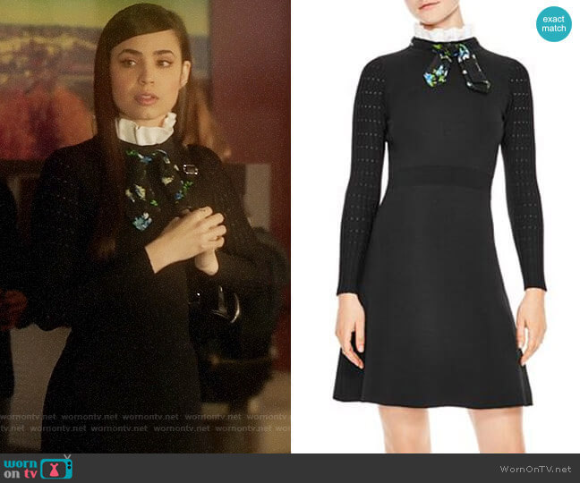Sandro Clemence Dress worn by Ava Jalali (Sofia Carson) on PLL The Perfectionists