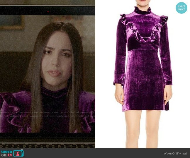 Sandro Emily Ruffled Vevlet Dress worn by Ava Jalali (Sofia Carson) on PLL The Perfectionists