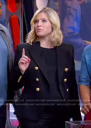 Sara's black blazer with gold buttons on GMA Strahan And Sara