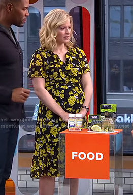 Sara's black and yellow floral dress on GMA Strahan And Sara