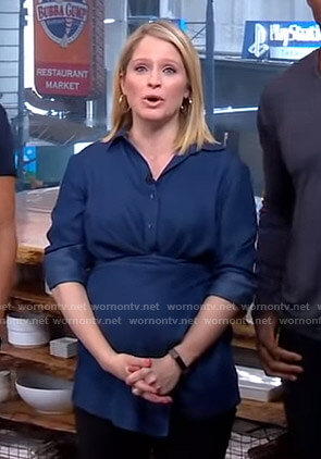 Sara's blue chambray shirt on GMA Strahan And Sara