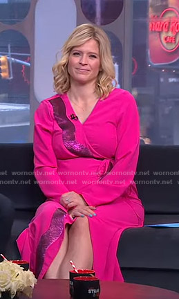 Sara's pink sequin embellished wrap dress on GMA Strahan And Sara