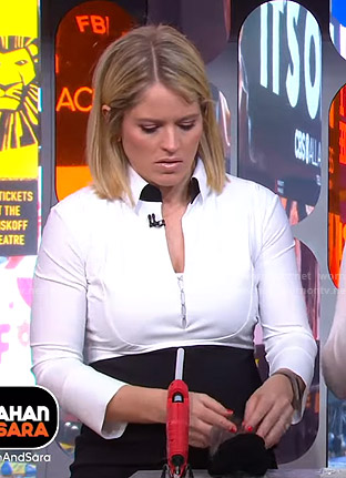 Sara's two-tone collared dress on GMA Strahan And Sara