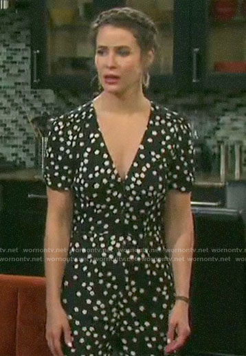 Sarah's black flower print jumpsuit on Days of our Lives