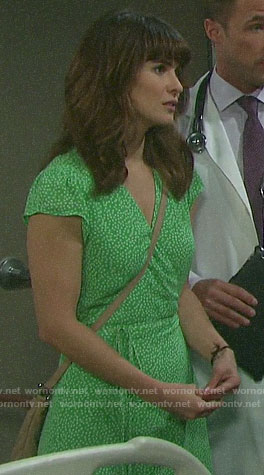 Sarah's green printed wrap dress on Days of our Lives