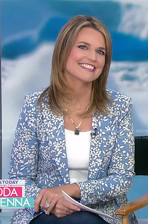 Savannah's blue floral blazer on Today