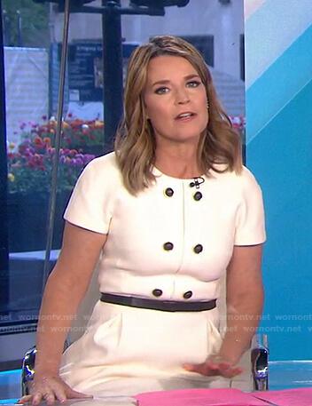 Savannah's white button detail dress on Today