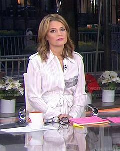 Savannah's white striped shirtdress on Today