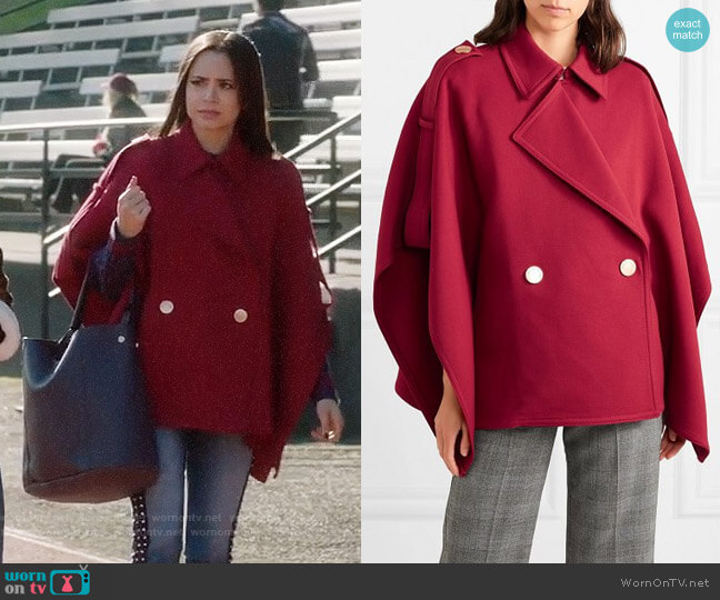 See by Chloe Snap-Front Trench Cape worn by Ava Jalali (Sofia Carson) on PLL The Perfectionists