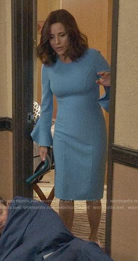 Selina's blue flared cuff dress on Veep