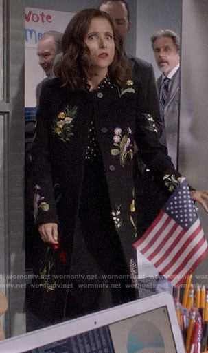 Selina's floral embroidered coat on Veep