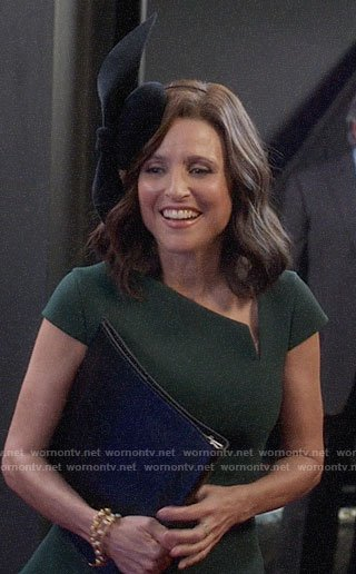 Selina's green asymmetric neckline dress on Veep