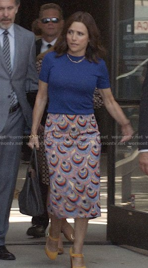 Selina's peacock feather print pencil skirt on Veep