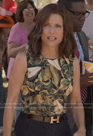 Selina's pear print top on Veep