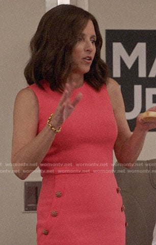 Selina's pink button detail dress on Veep