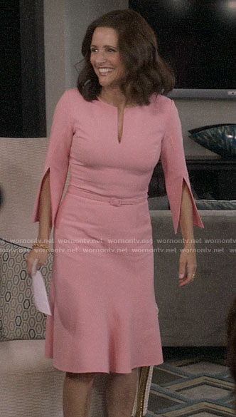 Selina's pink split sleeve dress on Veep