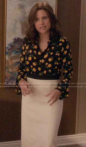 Selina's yellow rose print blouse on Veep