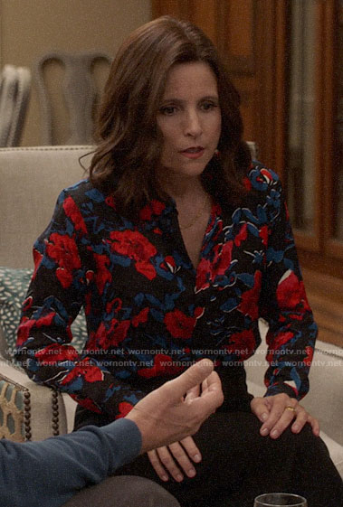 Selina's blue and red floral blouse on Veep