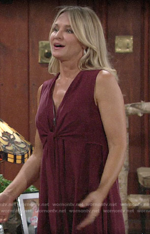 Sharon's red zip front dress on The Young and the Restless