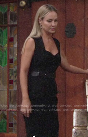 Sharon's black sweetheart neck dress on The Young and the Restless