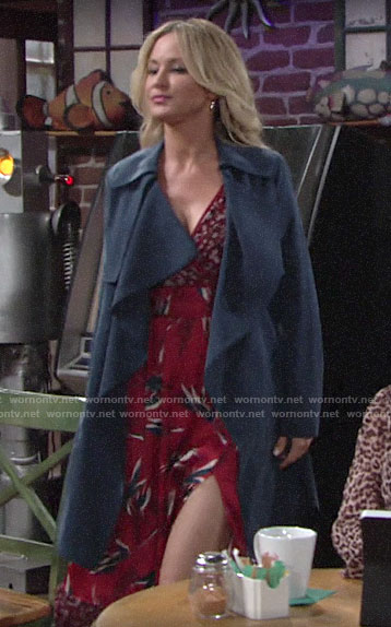 Sharon's blue draped front trench coat on The Young and the Restless