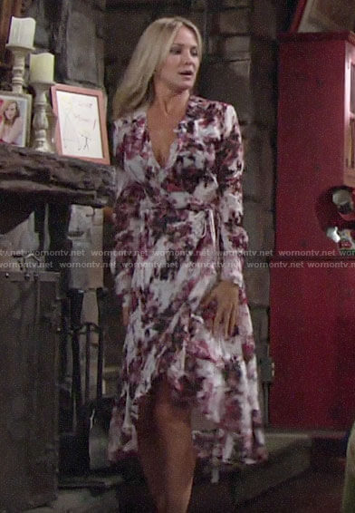 Sharon's pink floral wrap dress on The Young and the Restless
