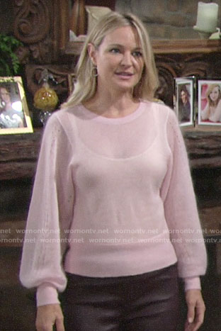 Sharon's pink balloon sleeve sweater on The Young and the Restless
