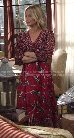 Sharon's red mixed print dress on The Young and the Restless