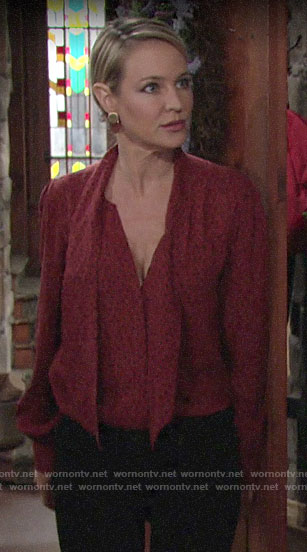 Sharon's red polka dot blouse on The Young and the Restless