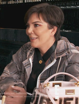 Kris's plaid sheer coat on Keeping Up with the Kardashians