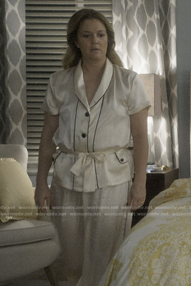 Sheila's white belted pajamas on Santa Clarita Diet