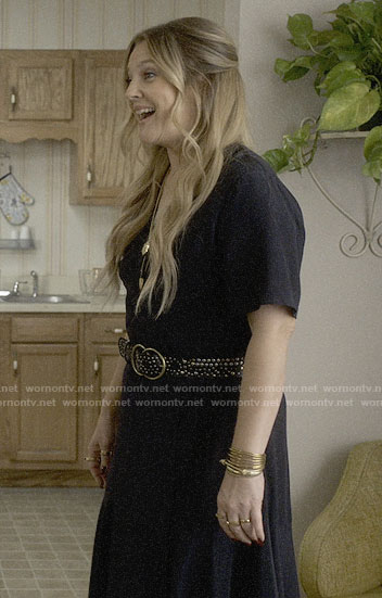 Sheila's black wrap dress on Santa Clarita Diet