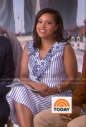 Sheinelle's white and blue striped dress on Today